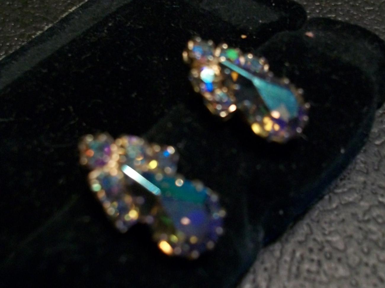 Vintage Amber to Plum Aurora Rhinestone Earrings