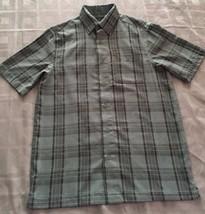 George Men's Short Sleeve Green/Black Stripe Button Down Shirt- Size S 3... - $15.59