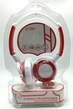 Headphones Headband White Red Built in Micropho... - $11.99