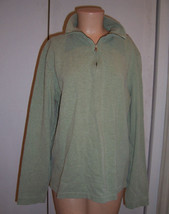 Banana Republic Light Green 1/4 Zip Long Sleeve Cotton Pullover Top Sz Med - $12.50