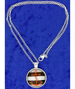 Naval Themed Red Anchor Necklace Striped Maritime Choice of Chain Length - $4.99+