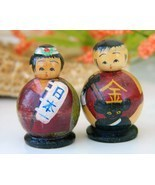 Vintage Pair Kokeshi Dolls Miniatures Wood Nodd... - $22.95
