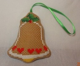 New bell Christmas Ornament Finished Cross Stitch Handmade Backed Fabric... - $14.99