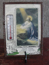 Thermometer, old,framed religious, Frank Weiss Funeral - $30.40