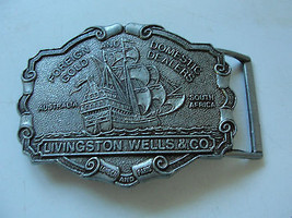 Livingston Wells & Co, nautical belt buckle, pewter, Foreign and Domesti... - $20.43