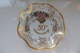 1989 G.Z.LEFTON CO.WHITE&PINK ROSES CANDY OR MINT 50th ANNIVERSARY DISH ... - $19.00