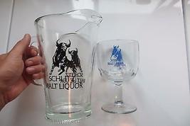 Schlitz Malt Liquor original beer tavern pitcher and beer goblet mug adv... - $33.25