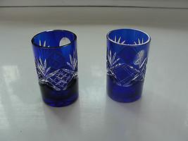 Cobalt Blue Juice Glasses, cut glass, pair, vintage, old - $97.80