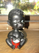 Black Americana baby bobble head bank, old, baby girl with drum and earr... - $173.95