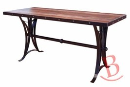 Rustic Eric Counter Height Dining Table w/Iron Base Real High Quality Wood - $1,074.15
