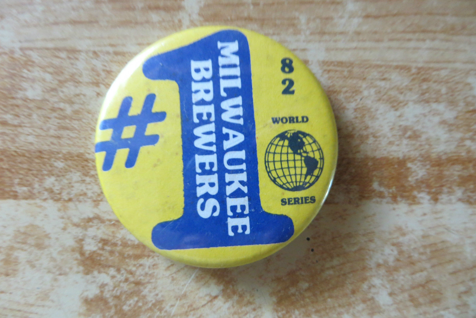 1982 dated #1 Milwaukee Brewers MLB World Series collectible old rare pin button