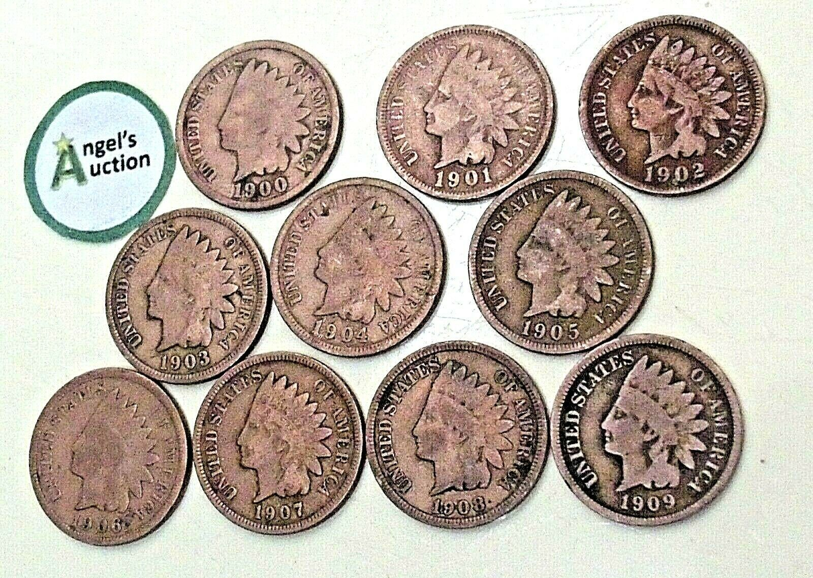 Indian Head Penny 1900, 1901,1902, 1903, 1904, 1905, 1906, 1907, 1908 and 1909