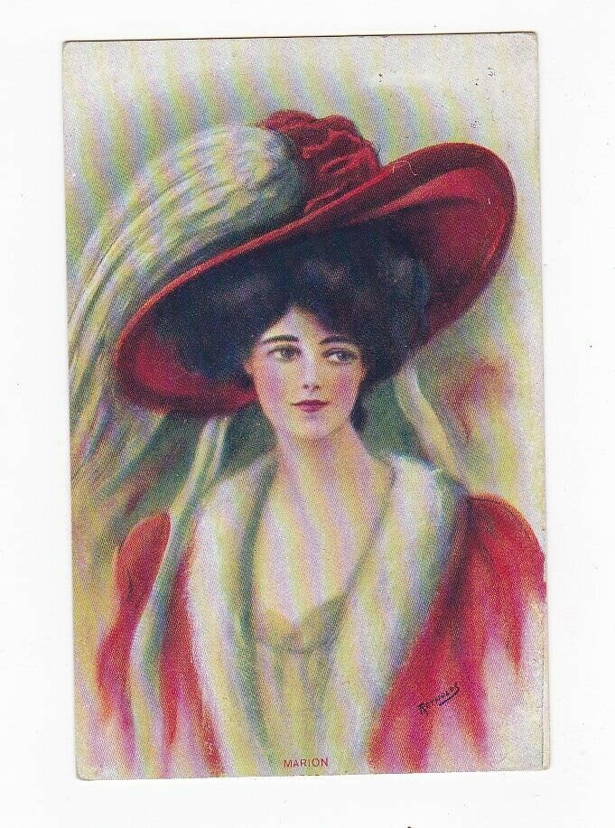 Primary image for MARION WOMEN WITH RED HAT VINTAGE ARTIST SIGNED POSTCARD REYNOLDS 1910