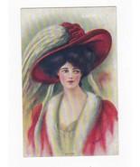 MARION WOMEN WITH RED HAT VINTAGE ARTIST SIGNED POSTCARD REYNOLDS 1910 - $3.98