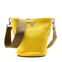 642e5e50b6c7 Prada Bucket Crossbody Bag Yellow Leather Medium New - $774.04