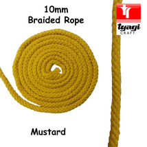 10mm Coloured Braided Cotton Rope 100% Natural Soft 8 Strand Craft Decor - $2.82+