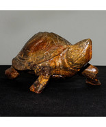 HUGE STUNNING BROWN MARBLE STONE CARVING TURTLE ANIMAL FIGURINE STATUE G... - $92.14 CAD