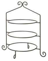 3 Tier PIE PLATE STAND - Wrought Iron Triple Rack in Satin Black USA HAN... - $49.49