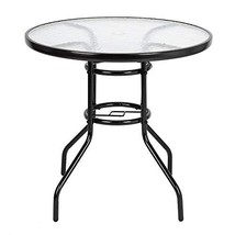 "St.CHIU Outdoor Dining Table, Round Glass Table & Steel Frame with 1.8"" ... - $66.26"