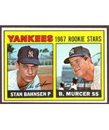 1967 TOPPS NEW YORK YANKEES ROOKIE STARS #93 MURCER/BAHNSEN BASEBALL CARD  - $7.87