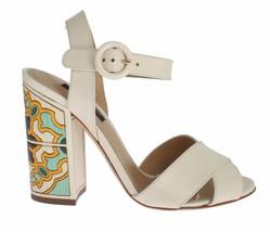 Dolce & Gabbana Women White Leather Majolica Print Sandals Shoes US 4.5 EU35 - $340.96