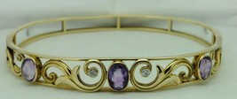 "Art Nouveau, 14K Yellow Gold, Amethyst and Diamond Bracelet (7 1/4"") - $1,200.00"