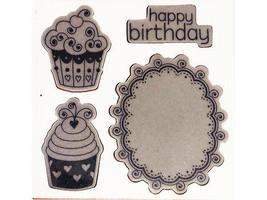 Sizzix & Hero Arts Happy Birthday Cupcakes Stamp and Die Set #657853 image 2