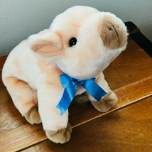 Gently Used Ty Beanie Buddies Collection Pinkish Orange Pig with Blue Ribbon Plu - $8.59
