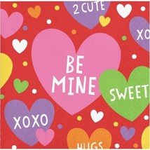 Valentine Party Candy Hearts 16 Ct Beverage Cocktail Napkins - $2.99