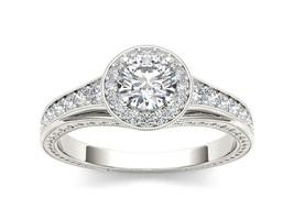 IGI Certified 14K White Gold 1.25 Ct Diamond Halo Vintage Engagement Ring - $1,580.99
