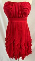 B.Darlin Red Strapless Layered Cocktail Dress, Size 1/2 - $27.54