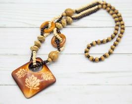 Vintage Maple Leaf Wood Beaded Necklace Earthy Brown Boho Bohemian - $7.92