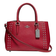 NWT COACH Luxury Mini Surrey Carryall Crossbody Rivets Studs Cardinal Re... - $168.30