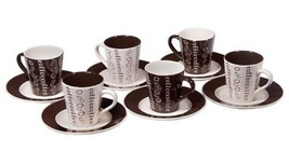Set Of 6 Demitasse Stoneware 2.7 Ounce Espresso Cups&saucers(white&brown coffee) - $18.80