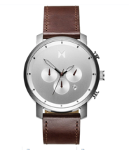 MVMT 45mm Chrono Silver Brown Leather Band Watch  - $139.95