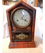 Vintage Wm. L. Gilbert Mantel Clock, Walnut Color Deer on Front Glass - $334.13
