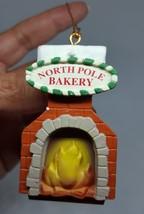 North Pole Bakery Hard plastic chimney oven Christmas Xmas tree Ornament vtg - $11.30