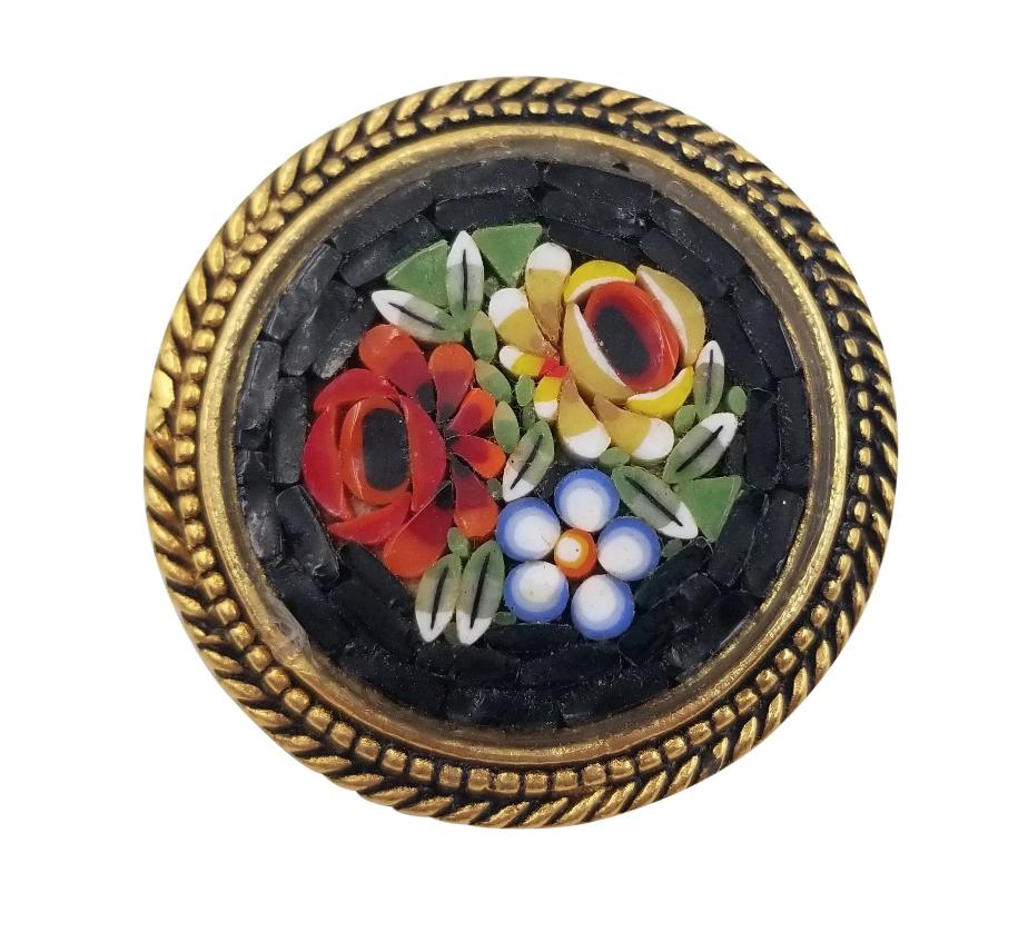 "Beautiful Vintage Micro Mosaic Gold Tone Circle Brooch Pin Flower Design 1 1/4"" - $24.74"