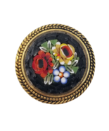 Beautiful Vintage Micro Mosaic Gold Tone Circle Brooch Pin Flower Design... - $24.74