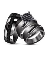 Round Cut Diamond Engagement Ring Wedding Band Trio Ring Set 14K Black G... - $157.98