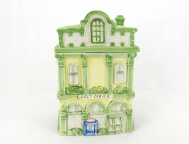 Vintage Porcelain Cookie Jar, Village Post Office Building, Light Green,... - $34.25