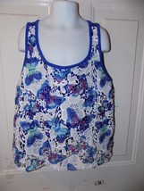 Justice Butterfly Print Floral Lace Blue Tank Top Size 16 Girl's Euc - $16.91