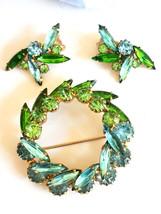 Vintage Rhinestone Circle Brooch Pin & Earring Set - Blue & Green Rhines... - $40.00