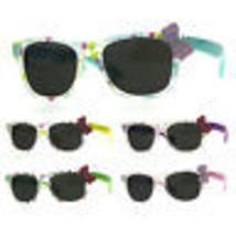 Girls Childern Size Horn Rim Glitter Bow Plastic Sunglasses - $9.95