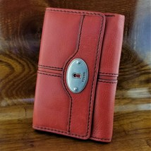 Womens FOSSIL Red Leather Keyper Tri Fold Credit Card Wallet Key Per Col... - $39.95
