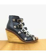 37 / US 6.5 - Top Shop Black Strappy Western Buckle Wedge Heels 1016KM - $40.00