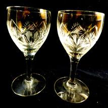 Set of 2 VTG American Brilliant Cut Crystal Cocktail Glasses Stemware Go... - $26.93