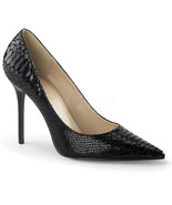 "PLEASER Classique-20SP 4"" Heel Pumps - Black Snake-Print Leather - $68.95"