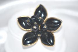 Vintage Black Poured Glass Brooch - $18.00