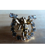 Gold Tone Angel Centered on Lucky Horseshoe filled with stones - $14.20